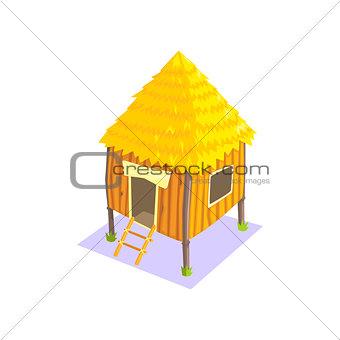 Little Elevated Wooden Hut Jungle Village Landscape Element