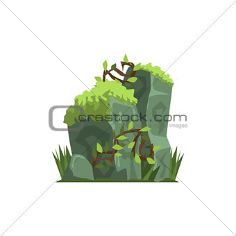 Old Stones Covered In Moss Jungle Landscape Element