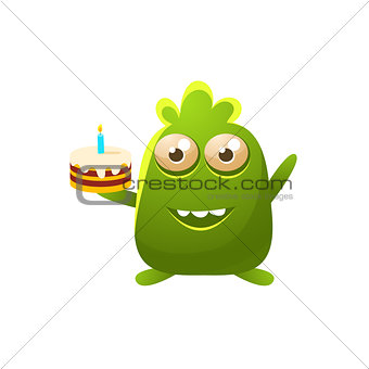 Green Toy Monster With Birthday Cake