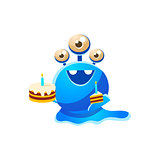 Blue Three-Eyed Toy Monster With Full Birthday Cake And A Slice