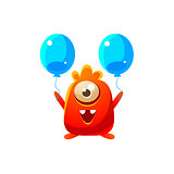 Red Toy Monster With Two Balloons