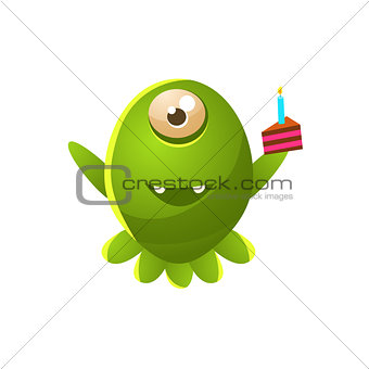 Green One-eyed Toy Monster With Slice Of Cake