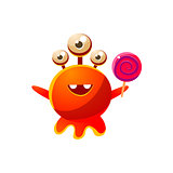 Red Three-Eyed Toy Monster With Lollypop