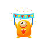 Orange Toy Monster With Party Banner