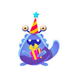 Blue Toy Monster In Party Hat With Present