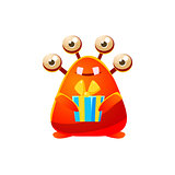 Red Toy Monster Holding Wrapped Gift