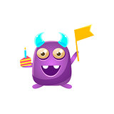 Purple Toy Monster With Horns Holding Flag And Piece Of Cake