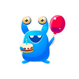 Blue Toy Monster Holding A Balloon And Cake