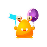 Yellow Toy Monster With Flag And Balloon