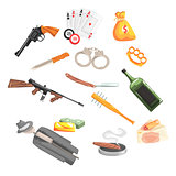 Crime And Money Related Set Of Objects