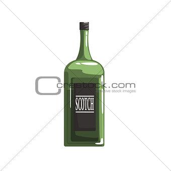 Green Glass Bottle Of Scotch