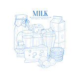 Milk And Dairy Products Hand Drawn Realistic Sketch