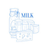 Milk And Cheese Hand Drawn Realistic Sketch