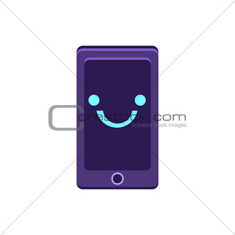 Smartphone Primitive Icon With Smiley Face