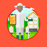 Bee-keeper at apiary vector illustration.