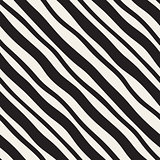 Vector Seamless Black and White Hand Drawn Diagonal Lines Pattern