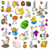 easter themes cartoon set