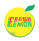 logo fresh lemon with leave on a white background