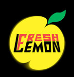 logo fresh lemon with leave on a black background