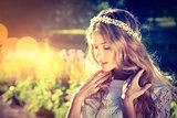 Romantic Bride on Warm Nature Background