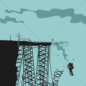 Car falls off a cliff vector illustration