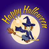 Cute little witch flying - Happy Halloween card