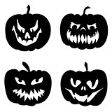 Halloween pumpkins with various expressions