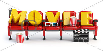 Cinema, movie video concept. Row of seats with popcorm, glasses