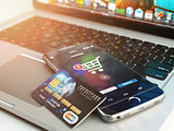 Mobile banking or online shopping concept. Mobile phone and cred