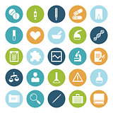 Flat design icons for medical science