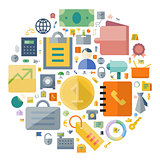 Icons for business and finance arranged in circle