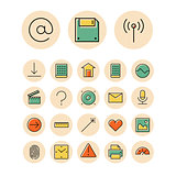 Thin line icons for user inteface and technology