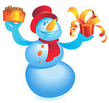 Snowman with cake and gift