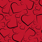 Vector seamless pattern with hearts on red background