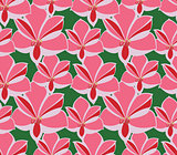 Seamless pattern amaryllis on green