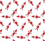 Seamless pattern Santa on white