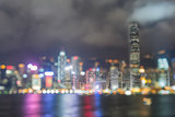 double exposure blured lighhts from Victoria harbor, Hong Kong