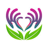 hands holding heart eco health concept vector eps10