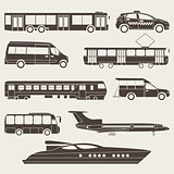 Vector set illustration of silhouette public transport