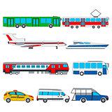 Vector set illustration of color public transport