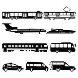 Vector set illustration of black public transport