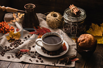 Autumn Leaves with Cup of Coffee and Muffin.