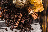 Autumn spices with coffe beans on the table