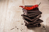 Chili on the stack of chocolate bars