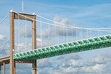 Suspension bridge construction background
