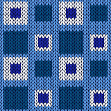 Seamless knitting geometrical color pattern in blue hues