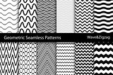 Collection of geometric seamless patterns. Wave, zigzag texture.