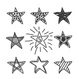 Collection of drawing stars.Doodle style.