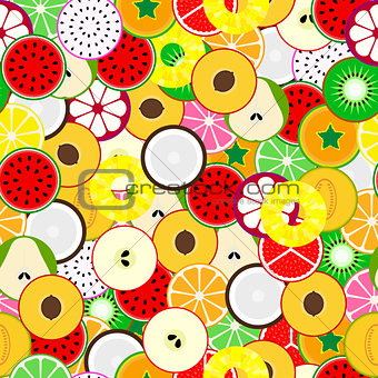 Bright fruit seamless background. Tropical mix.