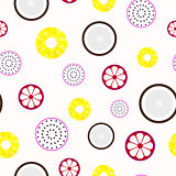 Tropical fruits - seamless vector pattern.